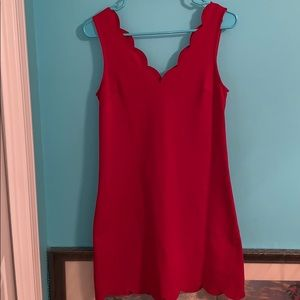 Red Scalloped Detail A-Line Dress
